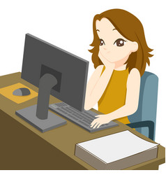 business woman working on desktop computer and vector image vector image