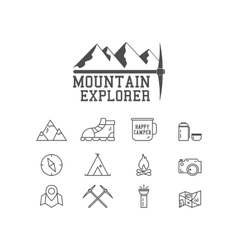 Camping mountain explorer camp badge logo vector image vector image