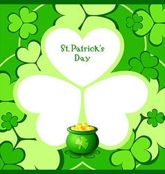 Lucky pot in clovers vector image