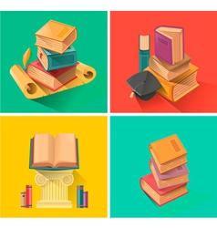 Set of book in flat design vector image vector image