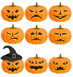 Set pumpkins for Halloween EPS10 vector image vector image