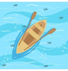 Wooden boat with blue sea water on background vector