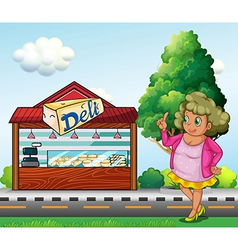 A fat lady in front of the deli store vector