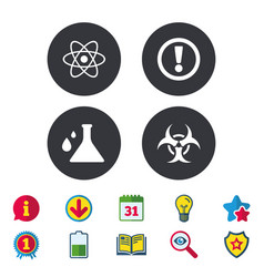 Attention biohazard icons chemistry flask vector
