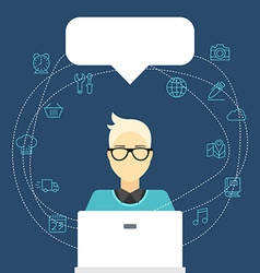 flat Internet concept Man with computer an vector image