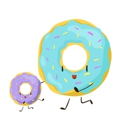 Funny fast food donuts icon vector image vector image