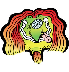 Smiling Hippy with crazy hair vector image