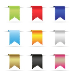 various color shiny curved hanging ribbon banners vector image vector image