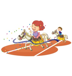 kids and horse vector image vector image