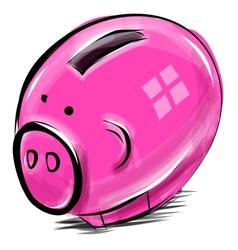 Money box cartoon pig sketch vector image vector image