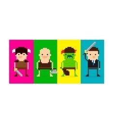 Pixel Game Characters vector image