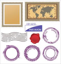 Postage stamps set vector
