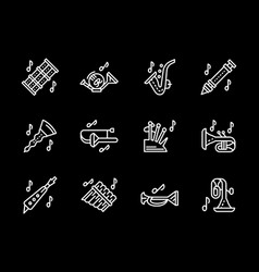 woodwind music tune white simple line icons vector image vector image