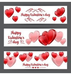 Happy Valentine day banners with red realistic vector image vector image