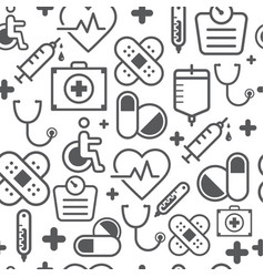 line style icons seamless pattern medicine vector image vector image