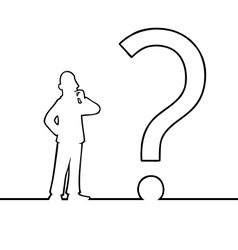 Man with big question mark vector image vector image