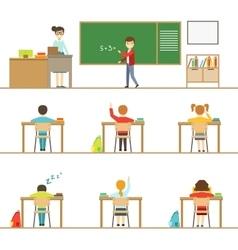 Mathematics Classroom And Kids Behind The Desks vector image