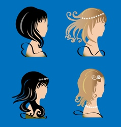 Set of women with beauty hair vector image vector image