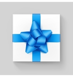 White Square Gift Box with Light Blue Ribbon Bow vector image