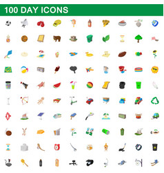 100 day icons set cartoon style vector