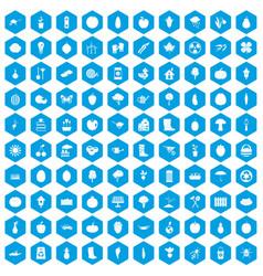 100 garden icons set blue vector