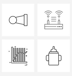 4 editable line icons and modern symbols beep vector