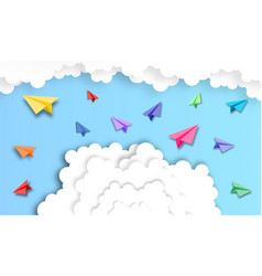 abstract cloud with paper plane background paper vector image