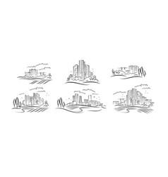 abstract schematic urbanistic landscapes vector image
