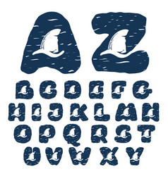 Alphabet with sharks fin vector