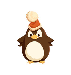Angry penguin in santa hat isolated character vector