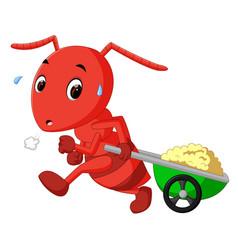 Ants dragging carts vector
