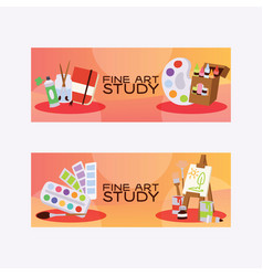 art studio studying in art-school with vector image