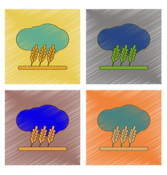 Assembly flat shading style icon wheat cloud vector