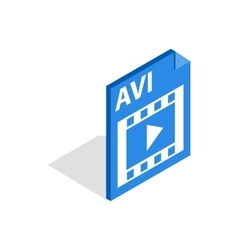 AVI file extension icon isometric 3d style vector