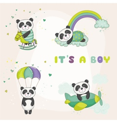 Baby panda set - for baby shower cards vector