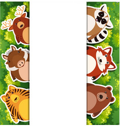 banner template with cute animals vector image