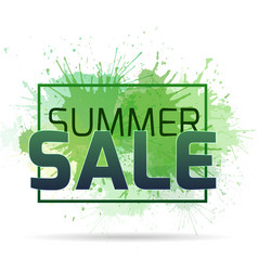 banner with watercolor splashes on a summer sale vector image