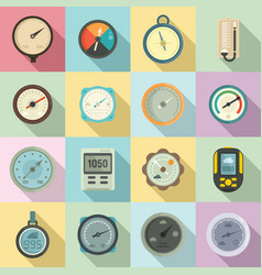 Barometer icons set flat style vector