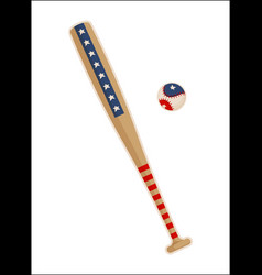baseball bat and ball with usa symbols patterns vector image