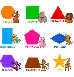 Basic Geometric Shapes with Cartoon Animals vector