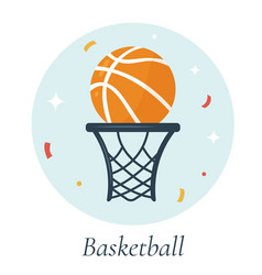 Basketball ball and basket vector