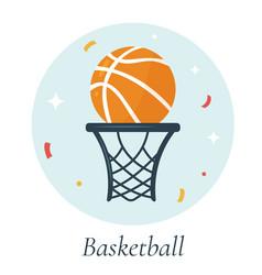 Basketball ball and basket vector