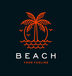 beach logo with palm tree vector image