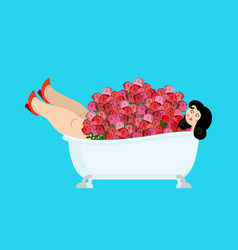beautiful girl in bath and roses vector image