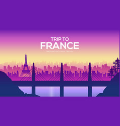 big france bridge on the landscape background of vector image