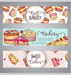 cake banners with handdrawn akes and pink splashes vector image