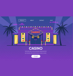casino gambling house gold neon lights exterior vector image