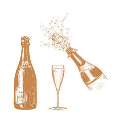 champagne bottle and glass sketch vector image