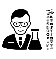 Chemist icon with flying drone tools bonus vector