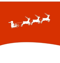 Christmas background with santa and deers vector